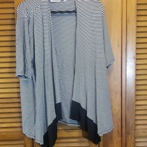 Black and white striped ooen cardigan